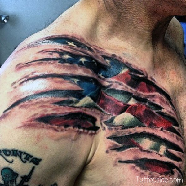 fresh cuts american flag tattoo for men