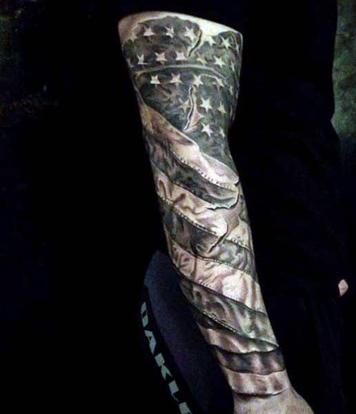 full sleeve american flag tattoo for men