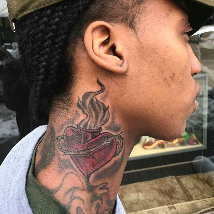 heart neck tattoo for men