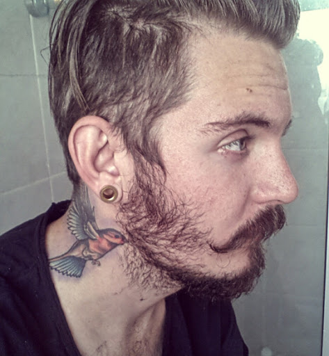 hummingbird neck tattoo for men