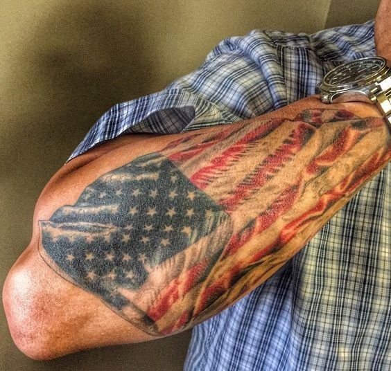 large forearm american flag tattoo for men