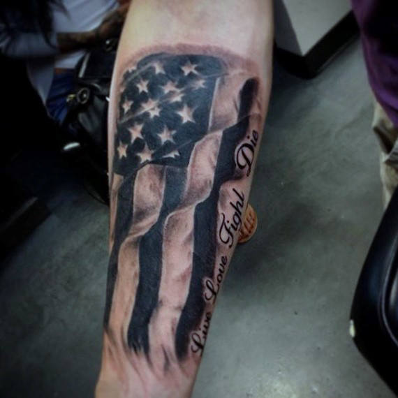 live love fight die american flag tattoo for men