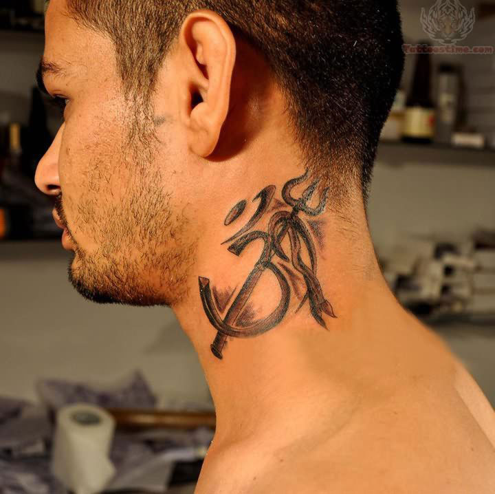 pitchfork neck tattoo for men