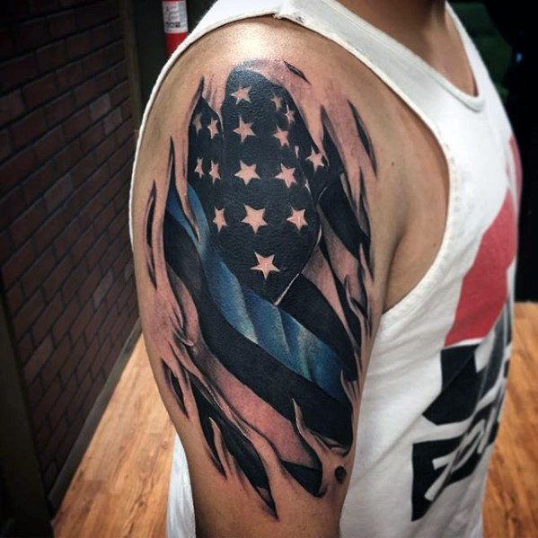 shredded skin american flag tattoo for men