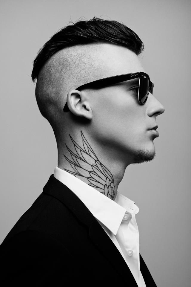 stylish wing neck tattoo for men