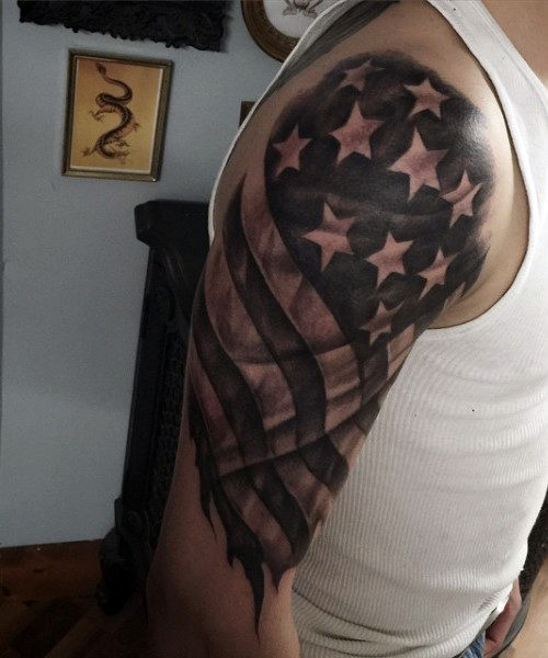tattered american flag tattoo for men