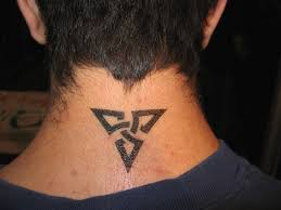 triangle neck tattoo for men