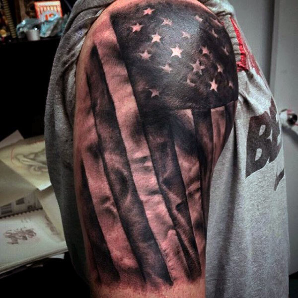 windy american flag tattoo for men
