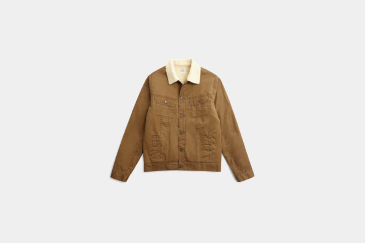 Faherty Canvas Sherpa Stormrider Jacket