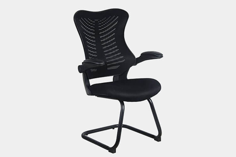 Office Factor Reception Guest Chairs with Flip Up Arms – Comfortable Mesh, Ergonomic Contour, Tilting Back, Flippable Armrests – Modern Convertible Furniture for Visitors, Meeting Groups (Black)