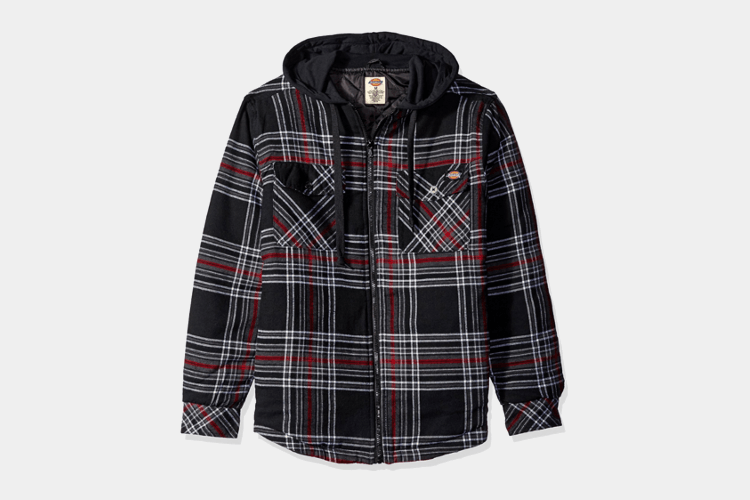Dickie' Men's Quilted Flannel Overshirt with Fleece