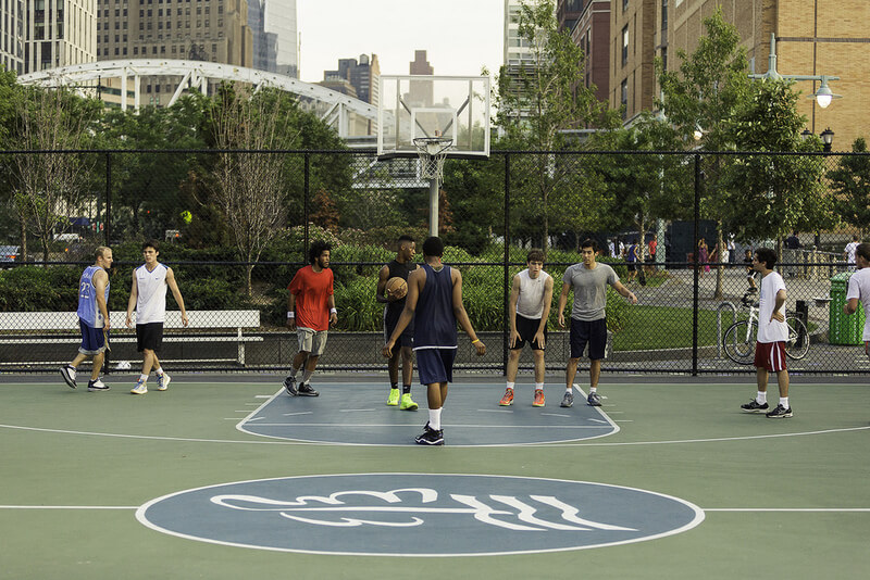 basketball team game in public court