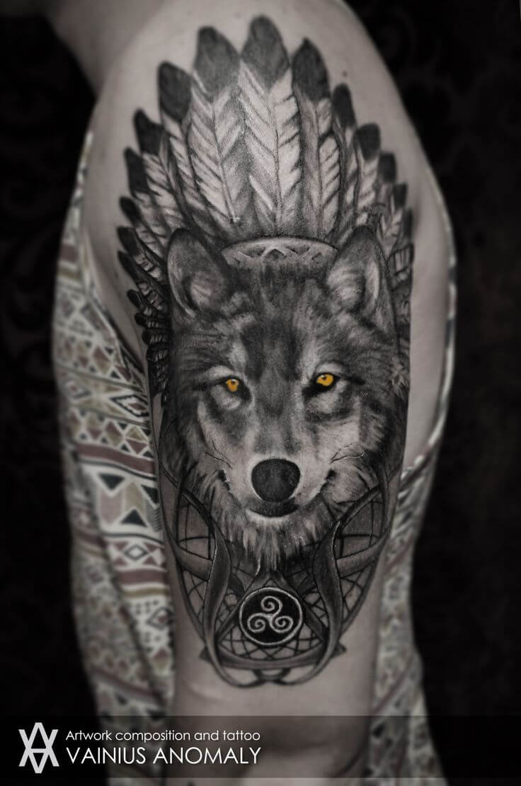 black-and-white-wolf-tattoo-sleeve-tattoo-wolf