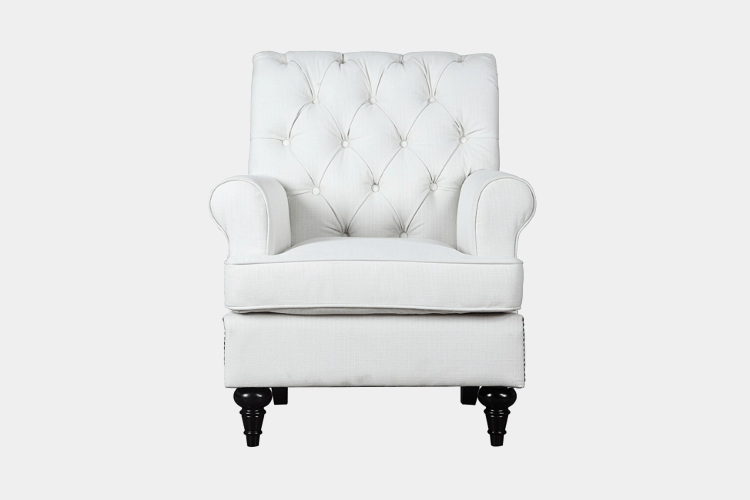 Classic Tufted Chesterfield Linen Fabric Accent Chair by Divano Roma Furniture