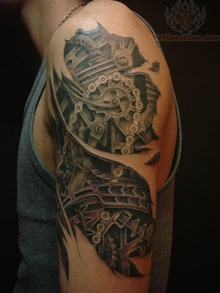 d50a43bb1 ... Realistic-Mechanical-Gear-Clock-Tattoo-On-Shoulder ...