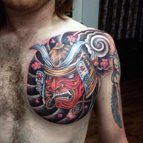 Traditional-Samurai-Head-Tattoo-On-Man-Left-Chest