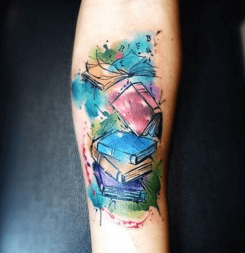 Watercolor-books-tattoo