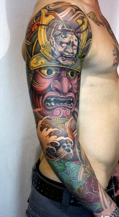 asian style massive huge multicolored sleeve tattoo