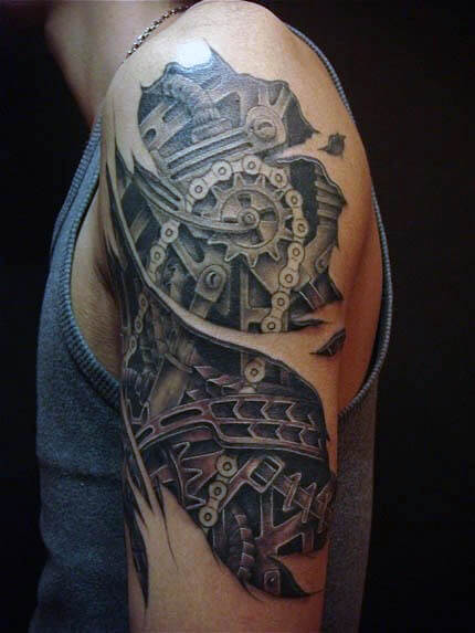 700761d11 Top 80 Best BioMechanical Tattoos for Men | Improb