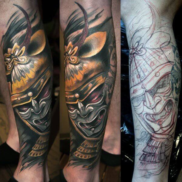 leg-sleeve-japanese-samurai-tattoo-for-men