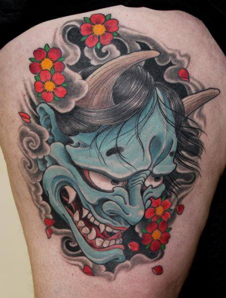 demon mask tattoo