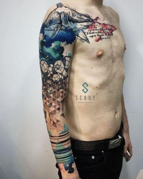 sleeve-tattoo-men-abstract-watercolor