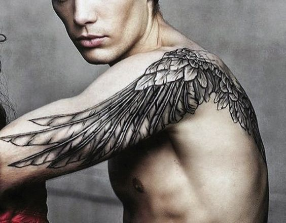 arm and back wing tattoo for men