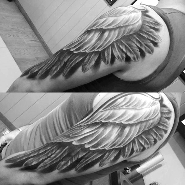 arm wing tattoo for men