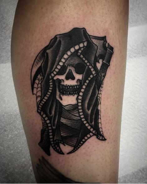 beaded hood grim reaper tattoo for men