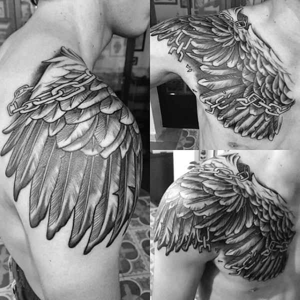 chest and shoulder wing tattoo for men
