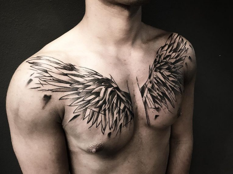 chest wing tattoo for men