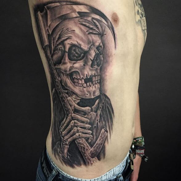 decaying grim reaper tattoo for men