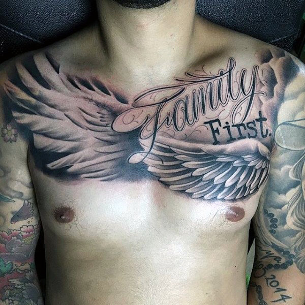 family first wing tattoo for men