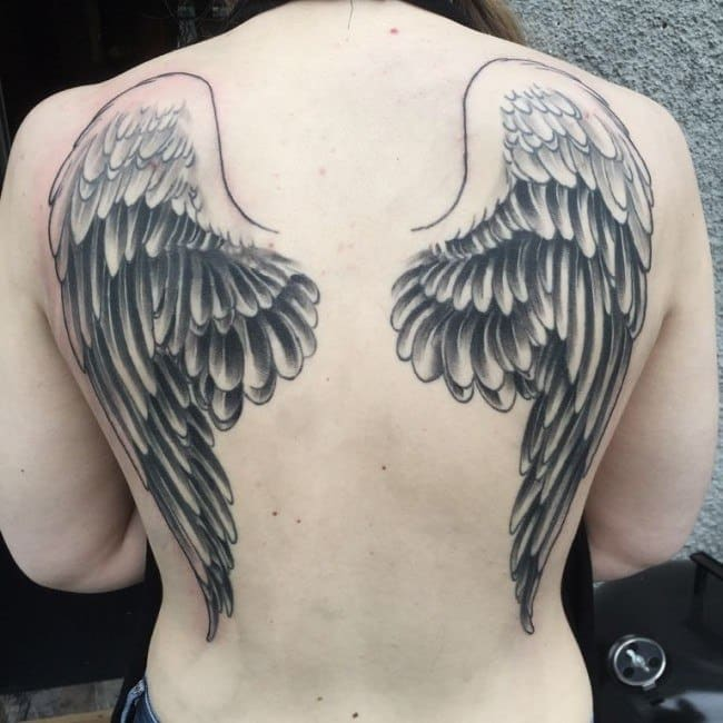 feathered wing tattoo for men