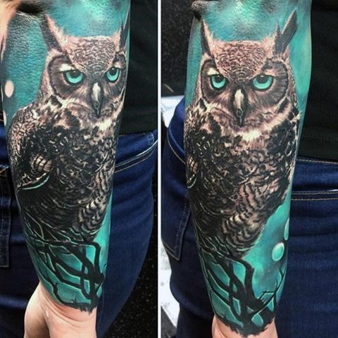 full colored owl tattoo for men's arms