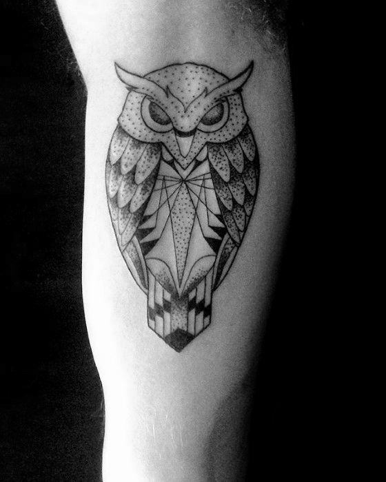 geometric owl tattoo for men's arm