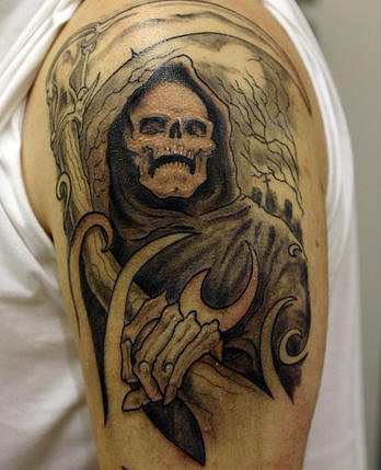 grim reaper against trees tattoo for men