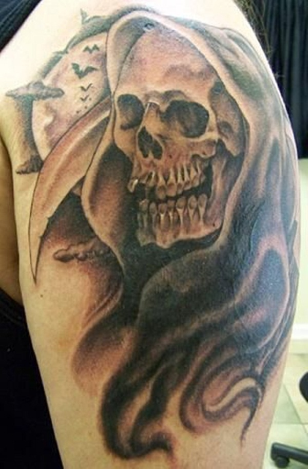 grim reaper and bats tattoo for men