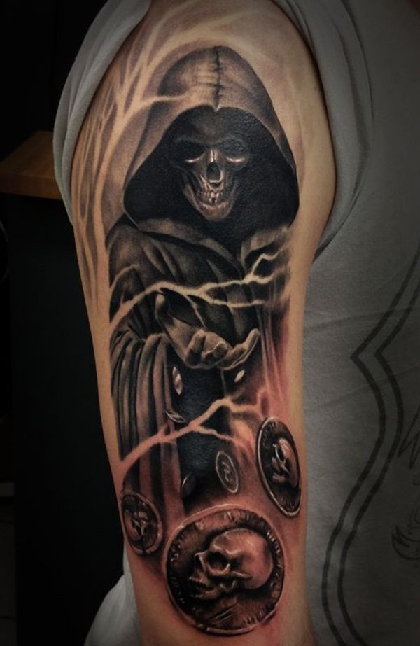 grim reaper and coins tattoo for men