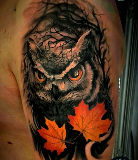 owl and fall leaves tattoo for men's arms