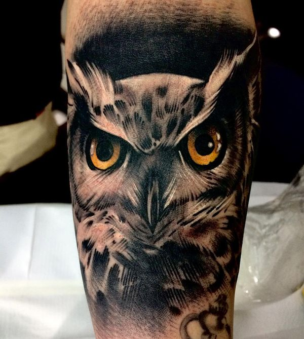 owl face men's shin tattoo