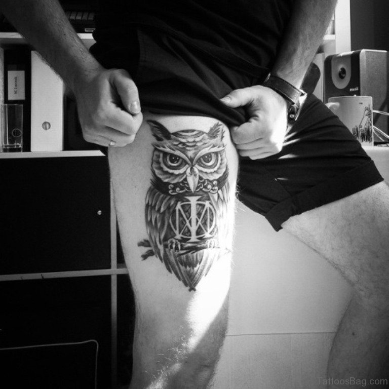 owl tattoo for men's upper legs