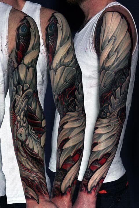 red-accented arm tattoo for men