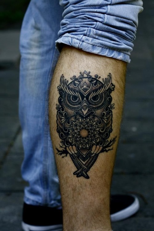 stylized owl tattoo for men's forearms