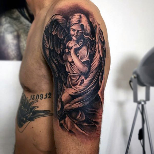 adorable guardian angel tattoo for men