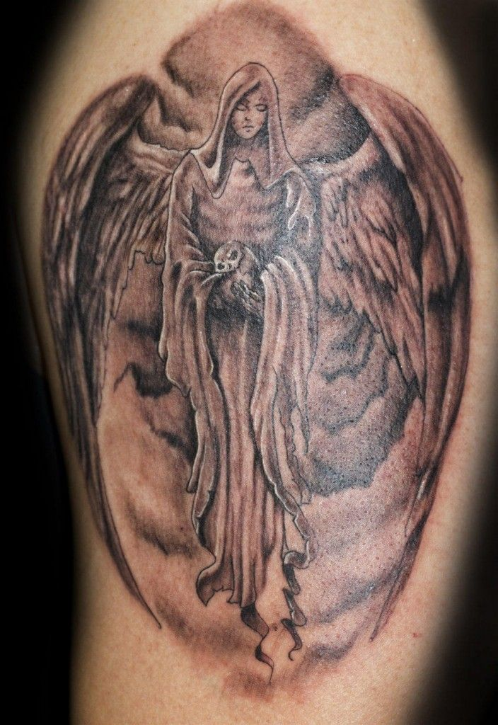 animal and guardian angel tattoo for men