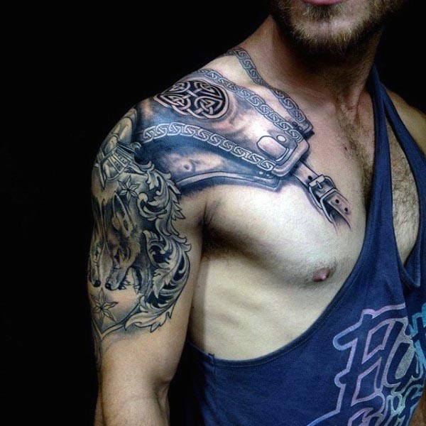 best armor design tattoo for men