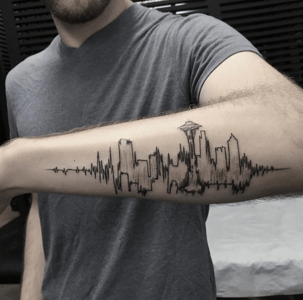 best cityscape design tattoo for men