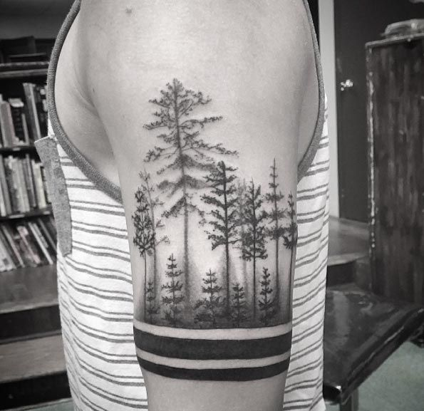 best forest design tattoo for men