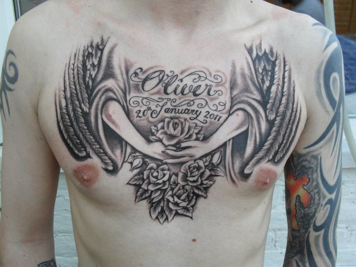 birthday guardian angel tattoo for men